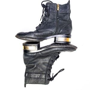 Vince Camuto Leather Combat Boots Black Gold